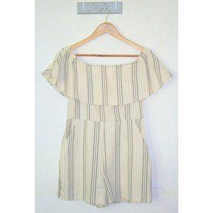 Dotti Romper Playsuit Size 10 Cream White Off Shoulder Stripes Summer